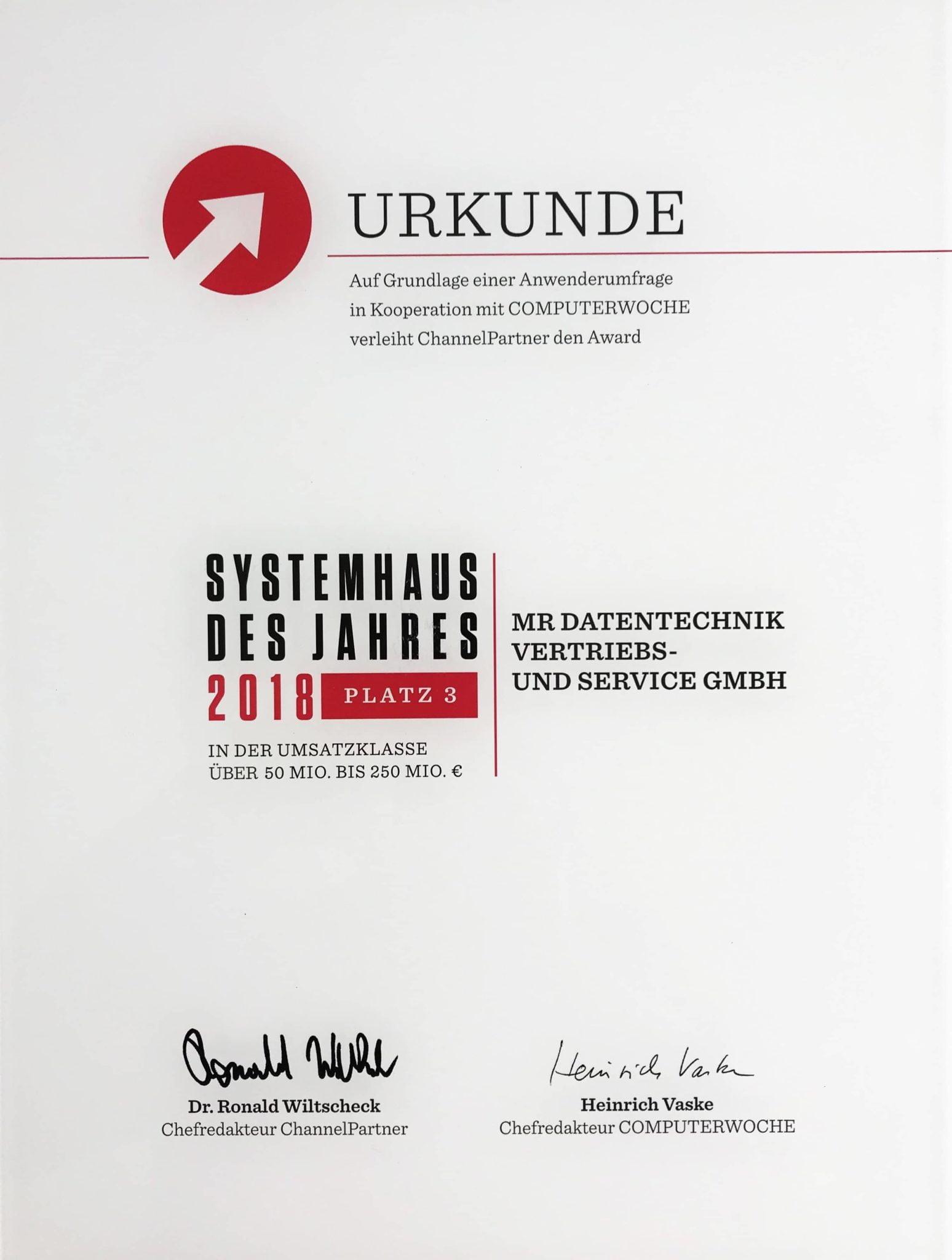 Systemhaus des Jahres 2018 Urkunde